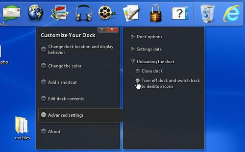 Turn off the dock and restore Desktop icons