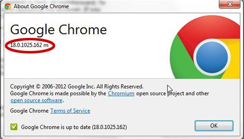 find your google chrome version number
