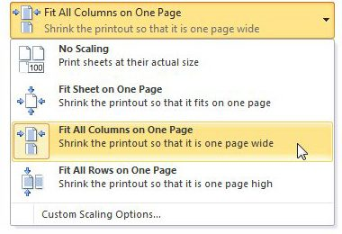 fit a spreadsheet on one page with the fit all columns on one page options