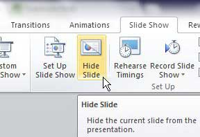 how to hide slides in powerpoint 2010