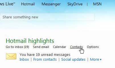 access your hotmail contacts