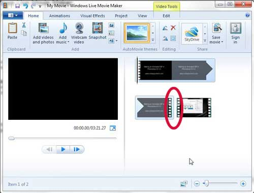 how to join video clips in windows live movie maker