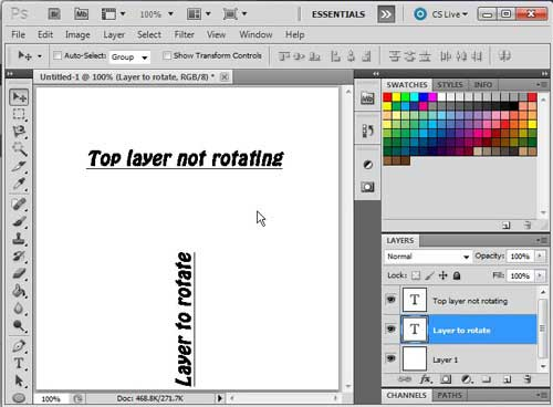 how to rotate a layer in photoshop cs5