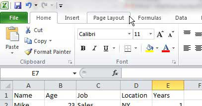 center form the page layout tab