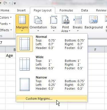 custom margins from the margins drop-down menu