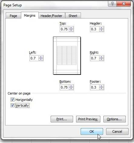 how to center worksheet horizontally and vertically in excel 2010