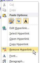 remove a single hyperlink in word 2010