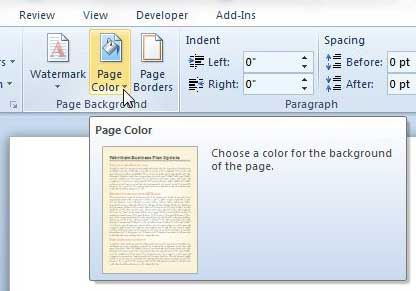 page color drop-down menu