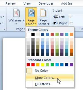 how to change background color in word 2010