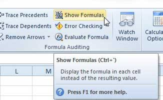 how to print formulas in Excel 2010