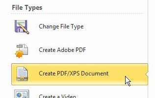 click the create pdf/xps document under file types section