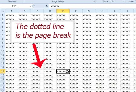 click in a cell under the page break