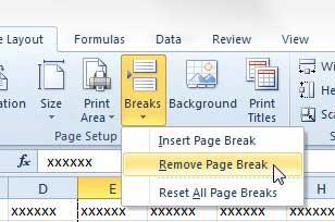 click breaks, then click remove page break