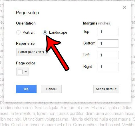 How to Change to Landscape Orientation in Google Docs